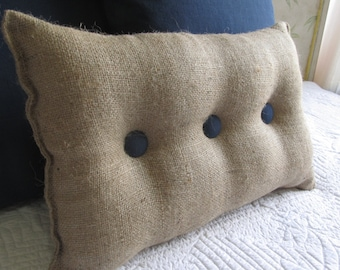 lumbar style 11x19 Burlap Pillow with Navy organic cotton duck buttons