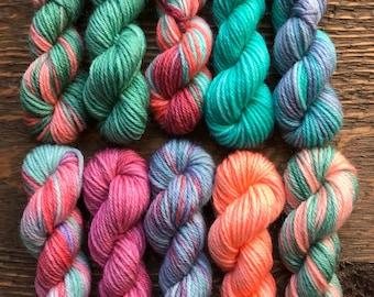 Hand Dyed Sock Yarn Mini Skein Set #139 -- 10 Mini Skeins/25 Yards Each
