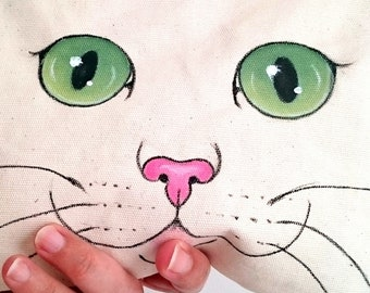 Cat Pouch, Hand Painted  Cat Canvas Zip Pouch / Make up bag / cosmetic bag