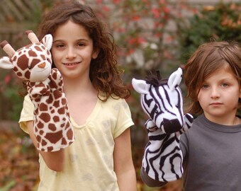 Jungle Hand Puppets to Sew- Zebra, Giraffe, and Leopard 3-in-1 PDF Sewing Pattern