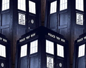 "Doctor Who Packed Tardis 100% cotton 44"" fabric by the yard (SC34) - Fabric by the yard"