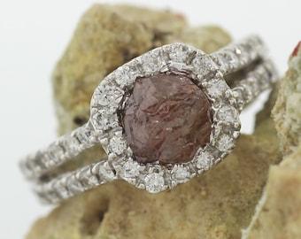 2.81 Carat Halo Raw Diamond Engagement Ring/ Rough Diamond Ring/ Raw Diamond Engagement Ring/ Uncut Diamond Ring/ Split Band 18KT White Gold