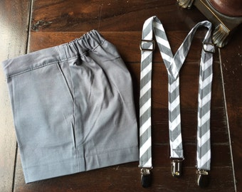 Cotton Ring Bearer SHORTS and Suspenders. Wedding Outfit for Ring bearer made by TwoLCreations