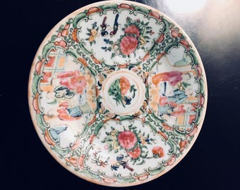 "Antique ""Famile Rose"" 1850's Rose Medallian Chinese porcelain plate"
