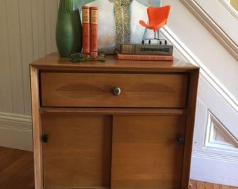 HEYWOOD WAKEFIELD NIGHTSTAND Midcentury Danish Modern Maple Wood Doors Drawer Vintage Retro Small Scale c1960s