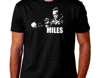 Miles Davis Men T-Shirt. Hand Screen Printed Tee. Great Quality. Very Soft. Music Jazz Latin Pop Prog Trumpet Musician