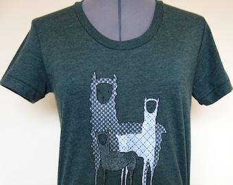 Womens Shirt Llamas Heather Forest Sizes S through XL