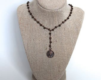 Dark Wood Bead Coin Necklace