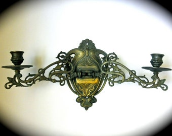 EXQUISITE Art Nouveau Brass Double Piano Sconce // Candle Holder // Antique Lighting // Wall Sconce // 1900 1910s