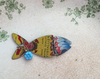 "Tin Jewelry Fish Necklace ""Fish Out of Water"" #9 Tin for the Ten Year Tenth Wedding Anniversary"