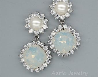 White Opal Earrings, Opal Bridesmaids Earrings, Crystals Bridal Earrings,  Opal Swarovski Crystal Earrings, Swarovski Pearl Bridesmaid Gifts