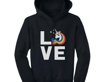 I Love Unicorns - Magical Gift Children Rainbow Unicorn Toddler Hoodie
