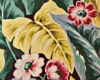 Tropical at Heart Caladium EXPLOSION Vintage Barkcloth Fabric Pillow Cushion Sz. 1940's Drapery Retro Wicker Rattan