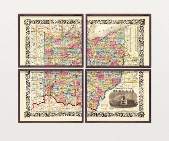 Ohio Map - Antique Map - Archival Reproduction - Ohio Art - Ohio Poster - Ohio Wall Art - Buckeye - Buckeye Art - State Map - US Map - Ohio