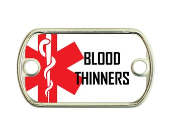 Blood Thinners Medical Alert 2 Holes Stainless Steel Mini Dog Tag For Paracord Bracelets