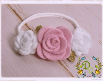 Felt Rose Headband, Rose Headband, Baby Headband, Newborn Headband, Toddler Headband Baby Shower Gift , Felt Headband, Valentines Day