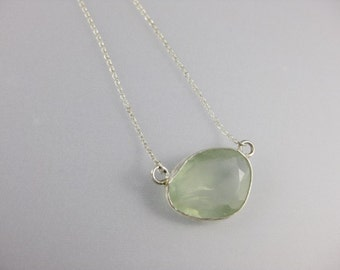 Pale Green Prehnite and Sterling Silver Necklace