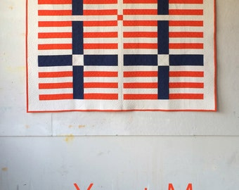 You + Me, a PDF modern quilt pattern in two sizes, by Heather Jones
