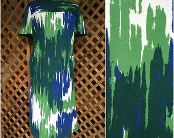 Womens Vintage 1960s Handmade Shift Dress Abstract Pattern Retro Mad Men Style Large XL