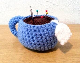 Teacup Pincushion, Crochet Teacup, Amigurumi Crochet Cup, Craft Supply, Home or Office Decor