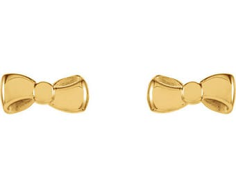 Any Color 14K Gold Bow Stud Earrings