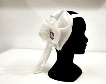 Headband bridal silk, tulle Ribbon and jewel enamelware