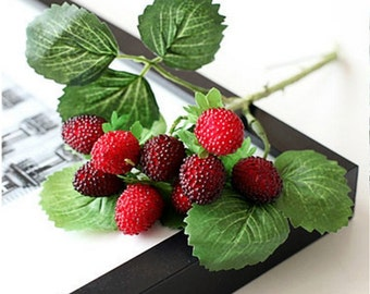 Lot of 6 branches Artificial fruit berries one branch (9 strawberries) home decor decoration flower red paddle strawberry plant