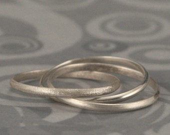 Plain Jane Rolling Ring in Sterling Silver Contrasting Textures--Silver Rolling Ring--Silver Interlocking Rings--Russian Wedding Ring