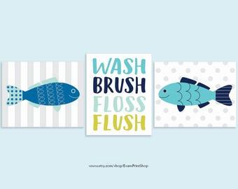 Fish Bathroom Decor - Fish Bathroom Art Prints Set of 3 - Kids Bathroom Decor - Boy Bathroom Art - Nautical Bathroom Wall Decor