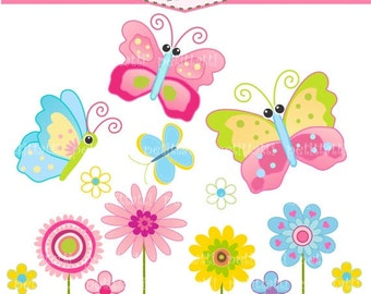 ON SALE cute Flower clipart - Butterfly clipart - instant download clipart, Butterfly and flowers, pink butterfly