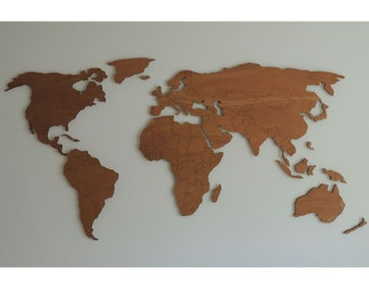 3d wooden world map XL with engraved land borders, floating on the wall
