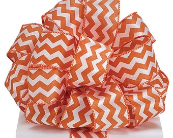 "2.5"" Orange White Chevron Wired Ribbon Texas Wreath 5 YARDS"