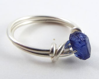 Raw Sapphire Wire Wrapped Ring
