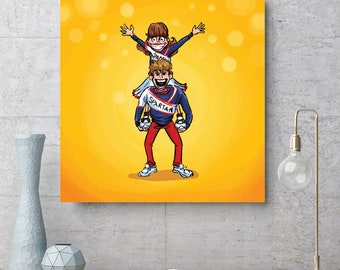 SPARTAN CHEERLEADERS - 10 x 10 in Giclee Print - Digital Illustration - SNL Legends - Comedy and Entertainment Art - Saturday Night Live Art