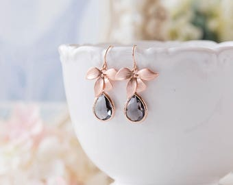Gray Glass Teardrop Rose Gold Orchid Flower Dangle Earrings, Rose Gold Jewelry, Bridesmaid Gift, Birthday Gift for wife, Gift for Mom,