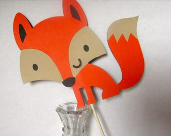 Cute Fox Party Decorations, Table Decor, Baby Shower, Birthday Party, Centerpiece, Cake topper, Photo Prop, Woodland Critter, Animal, Forest