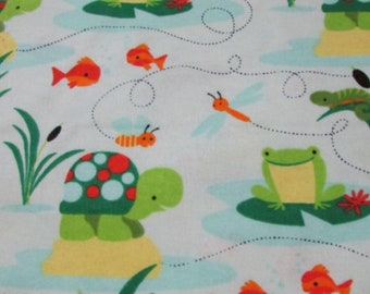 Turtles Frogs And Fish  Cotton Flannel Fabric 1/2 yard or yard quantities! Buy 4 get 1 FREE