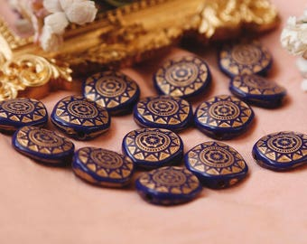 12pcs Acrylic blue gold Etched Carved Coin Nugget Beads (16mm)