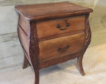 Wooden Bedside 2 Drawer Cabinet Mahogany Ornate Storage