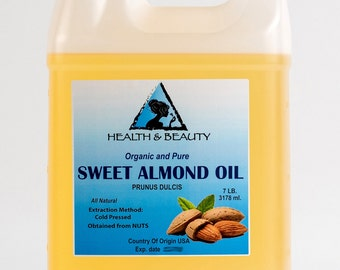 7 Lb, 1 gal SWEET ALMOND OIL Organic Carrier Cold Pressed 100% Pure