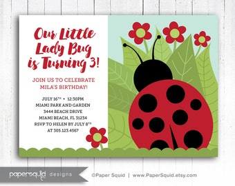 Ladybug Birthday Party Invitation, Ladybug Invitation, Red and black Ladybug Invitaiton, Customized Printable Digital File, Item 193