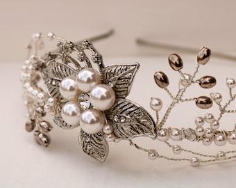 "Vintage-inspired  pearl and crystal silver bridal side tiara - ""Sarah"""