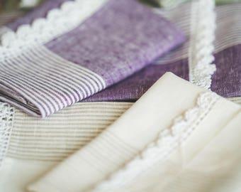Pure linen kitchen towels. Linen tea towels. Linen dish towels. Romantic towels.