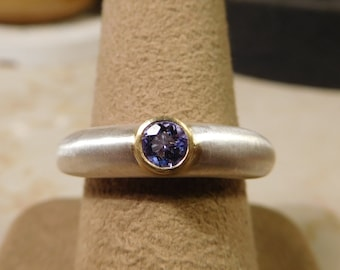 Tanzanite Ring, sterling with 22k bezel
