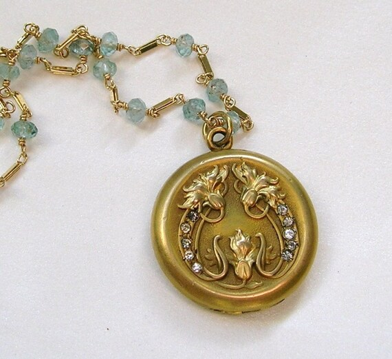 Antique Art Nouveau Gold Filled Locket Necklace Wire Wrapped