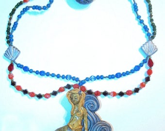 Hand Sculpted Polymer Mermaid Necklace