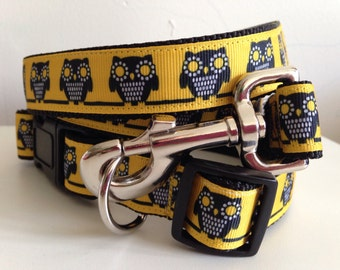 Golden Owls One inch Leash and Collar Set