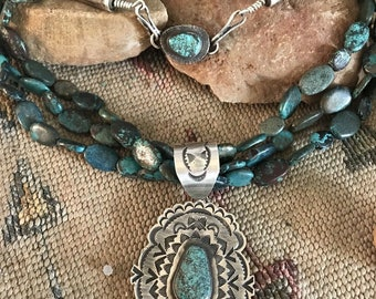 Tommy Jackson Royston Turquoise & Sterling Silver Necklace Signed