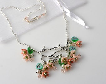 Cherry blossom flowers spring branch beadwoven necklace
