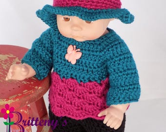 Baby Girl Doll Clothes Crochet Baby Doll Clothes Crochet Baby Doll Turquoise Pull Over Sweater Hat Shoes Black Pants Baby Doll Clothing